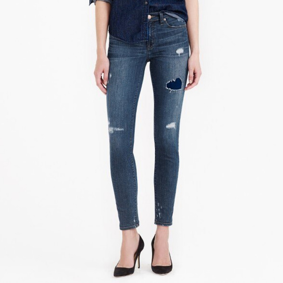 J.Crew Distressed Toothpick Ankle Jeans